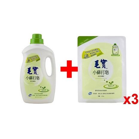 毛寶 小蘇打洗衣液體皂2000g+補充包1800gx3入/箱