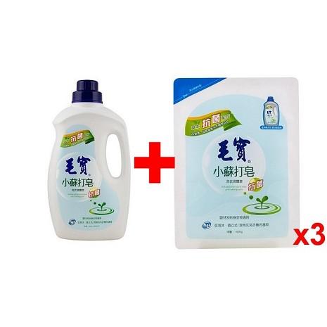毛寶 小蘇打洗衣液體皂-抗菌2000g+補充包1800gx3入/箱