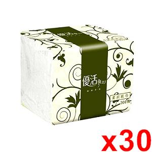 優活 單抽式柔拭紙巾300抽x30包/箱