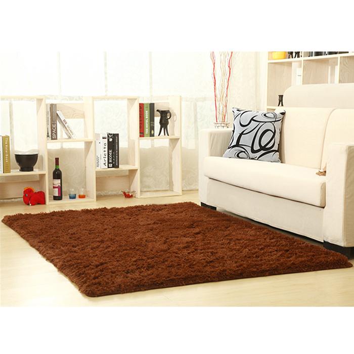 幸福揚邑》舒壓長毛羊絲絨超軟防滑吸水地毯-80x160cm(咖啡色)