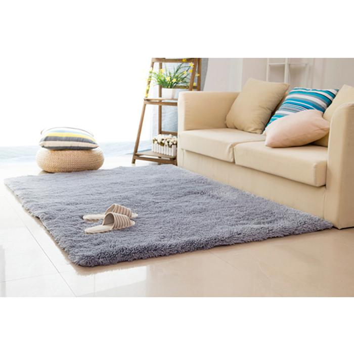 幸福揚邑》舒壓長毛羊絲絨超軟防滑吸水地毯-80x160cm(銀灰色)