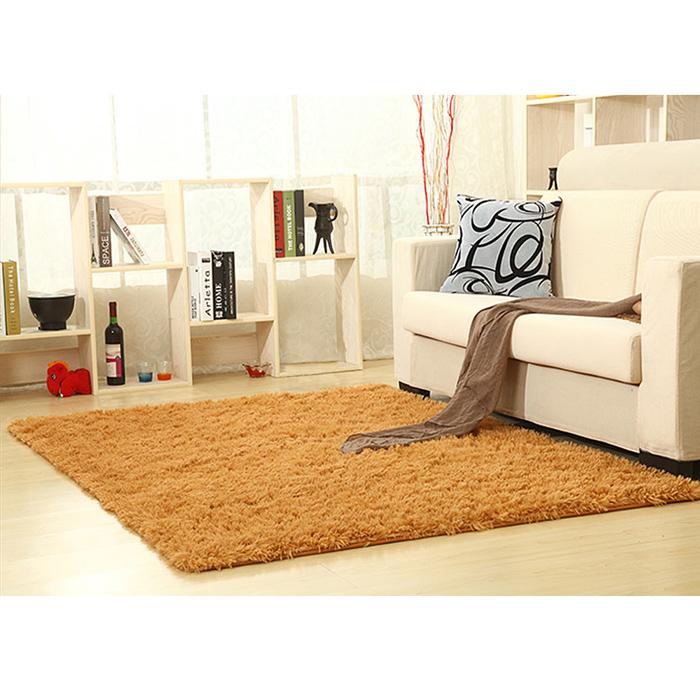 幸福揚邑》舒壓長毛羊絲絨加大超軟防滑吸水地毯-140x200cm(卡其色)