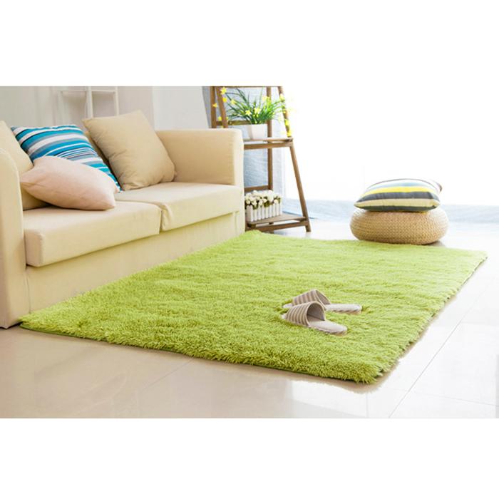 幸福揚邑》舒壓長毛羊絲絨加大超軟防滑吸水地毯-140x200cm(草綠色)