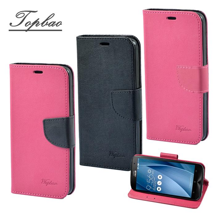【Topbao】ASUS Zenfone 2 5.0 時尚雙色輕盈側立磁扣插卡TPU保護皮套