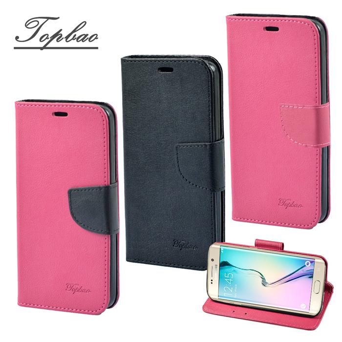 【Topbao】Samsung Galaxy S6 Edge Plus 時尚雙色輕盈側立磁扣插卡TPU保護皮套