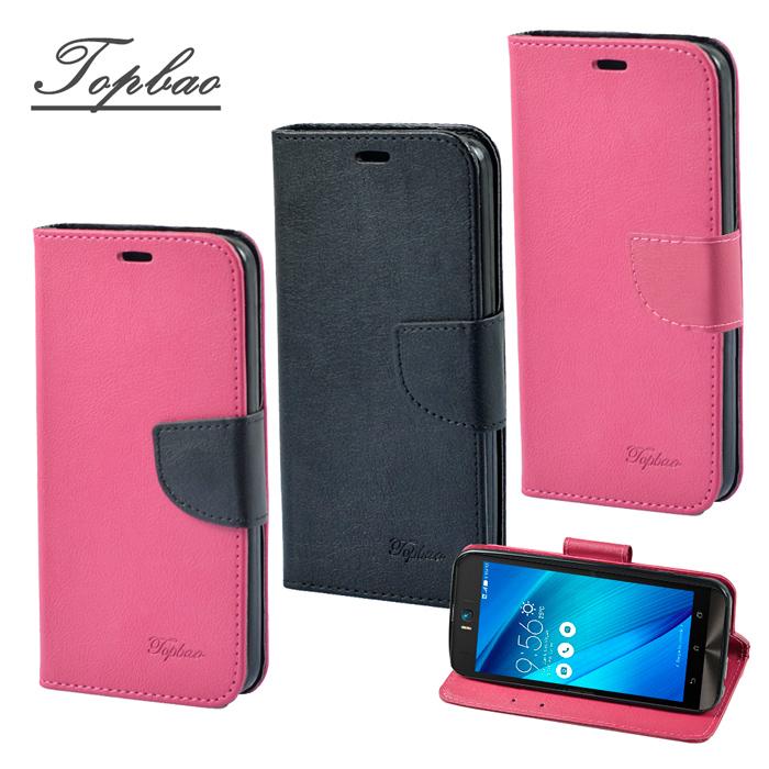 【Topbao】ASUS Zenfone Selfie時尚雙色輕盈側立磁扣插卡TPU保護皮套