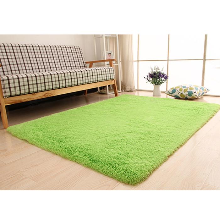 幸福揚邑》舒壓長毛羊絲絨加大超軟防滑吸水地毯-140x200cm(果綠色)