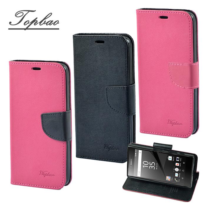 【Topbao】SONY Xperia Z5 Premium 時尚雙色輕盈側立磁扣插卡TPU保護皮套黑色