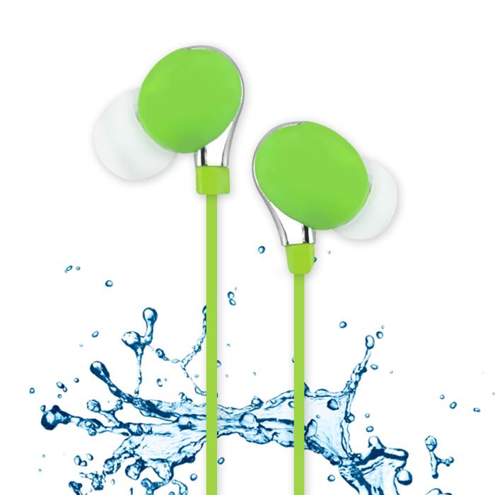 活力揚邑》IPX4防水重低音立體聲可調音管後掛入耳式3.5mm通用運動耳機-活力綠