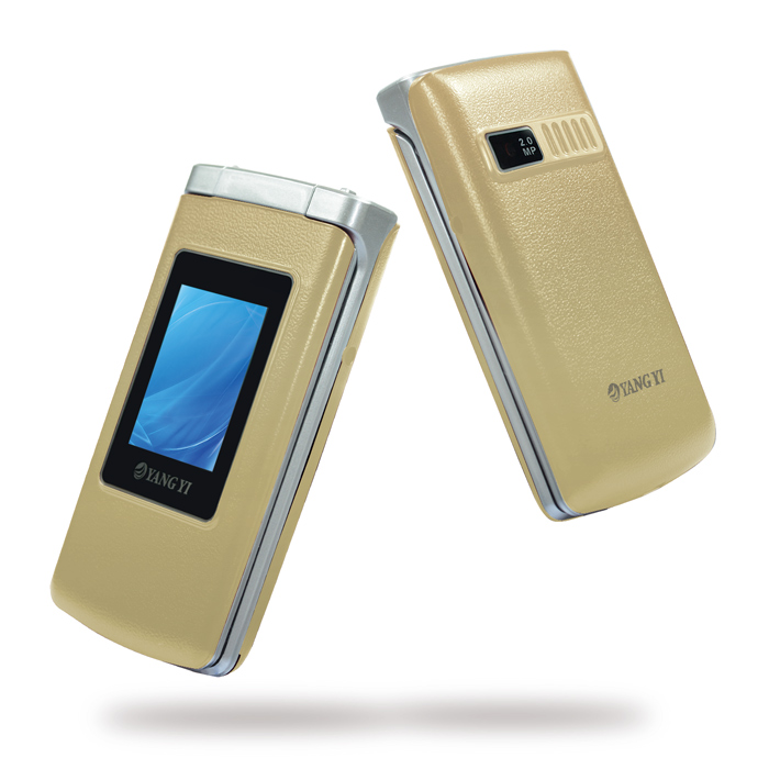 【YANG YI 揚邑】Y336可觸控超大2.8吋螢幕大字體來電報號語音報時摺疊機(原廠全配)-金色