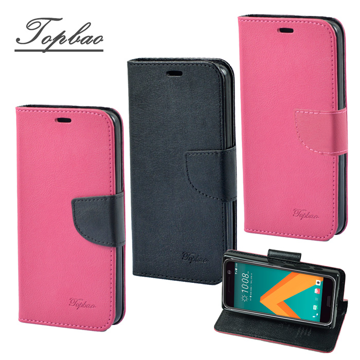 【Topbao】HTC 10 / M10 時尚雙色輕盈側立磁扣插卡TPU保護皮套
