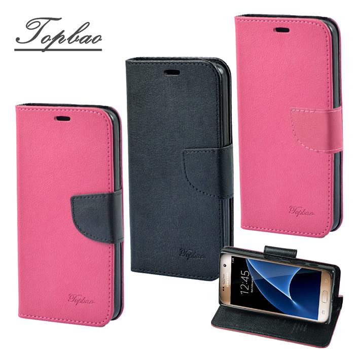 【Topbao】Samsung Galaxy S7 時尚雙色輕盈側立磁扣插卡TPU保護皮套