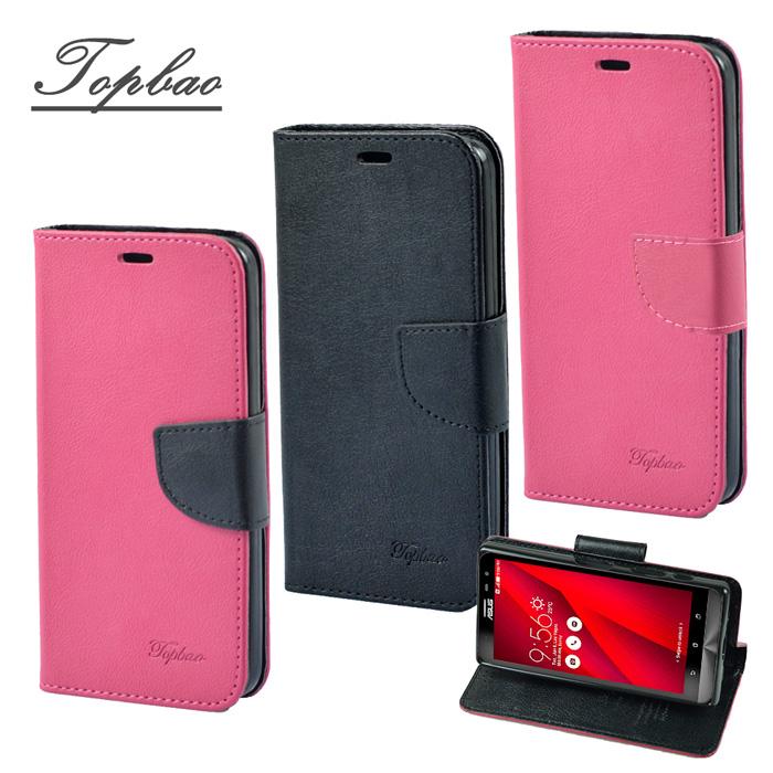 【Topbao】ASUS ZenFone 2 Laser 6吋 (ZE601KL) 時尚雙色輕盈側立磁扣插卡TPU保護皮套