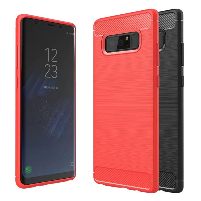 YANG YI 揚邑》Samsung Galaxy Note8 6.3吋 碳纖維拉絲紋軟殼散熱防震抗摔手機殼紅