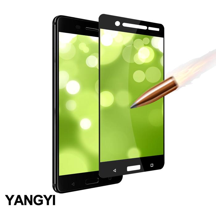 揚邑》Nokia 5 5.2吋 滿版鋼化玻璃膜弧邊防爆保護貼-黑