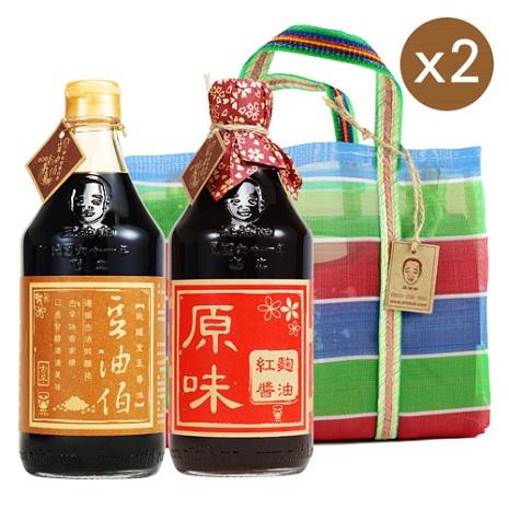 六堆釀豆油伯 復古提袋好醬組二-((金麴))2組