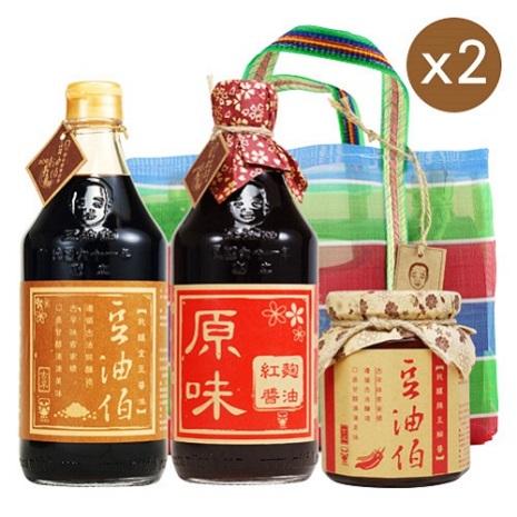 六堆釀豆油伯 復古提袋好醬料組二-((金麴辣))2組