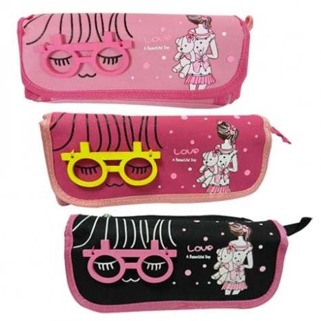 Girl~多功能眼鏡鉛筆袋/收納包/鉛筆盒/學生/女生用/可愛收納桃粉色