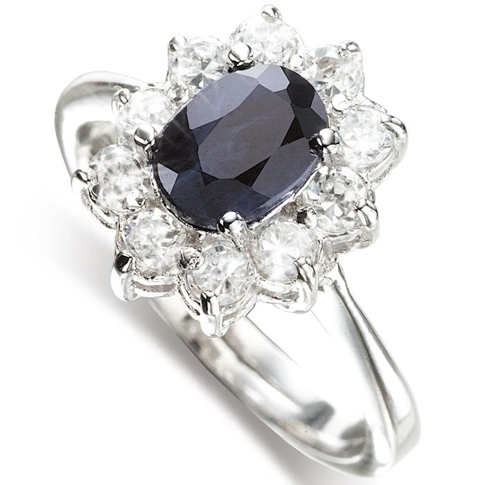 【雅紅珠寶】璀璨風華天然1克拉黑藍寶石女戒-活圍設計