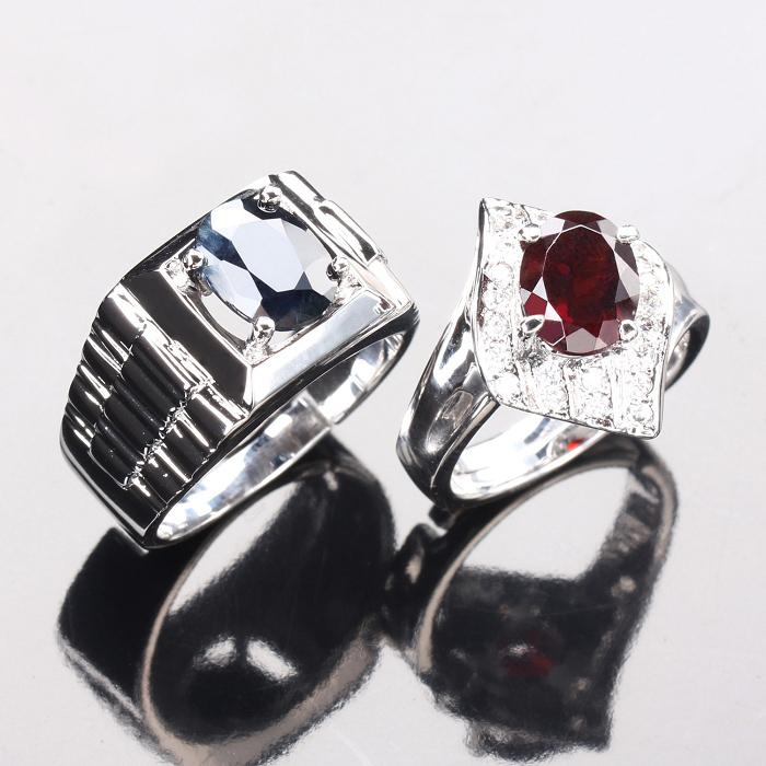【雅紅珠寶】幸福相守天然2克拉黑藍寶石/2克拉紅榴石對戒