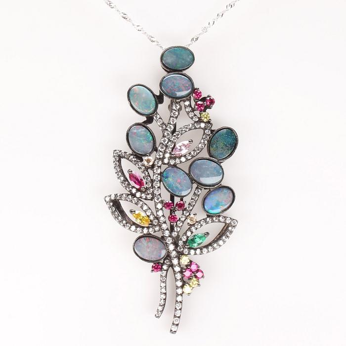 【雅紅珠寶】高貴紫荊花天然蛋白石項鍊胸針兩用款-925純銀飾