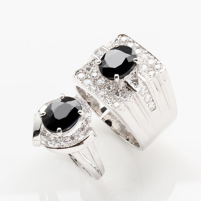 【雅紅珠寶】天生一對天然2克拉+2克拉黑藍寶對戒-活圍設計