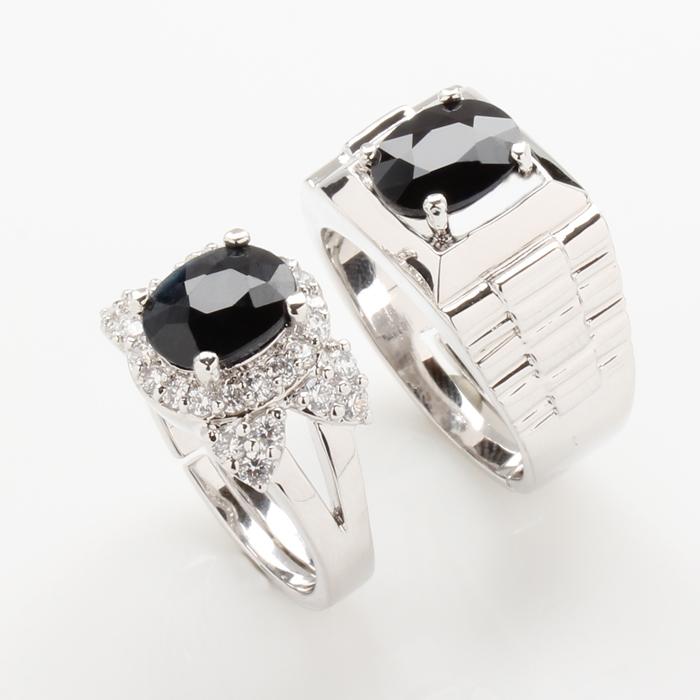 【雅紅珠寶】情投意合天然2克拉+2克拉黑藍寶對戒-活圍設計