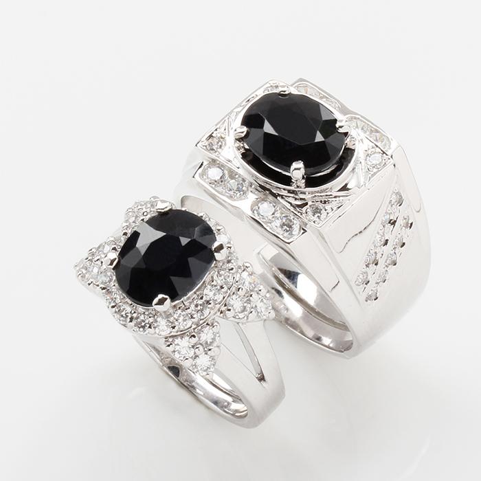 【雅紅珠寶】海枯石爛天然2克拉+2克拉黑藍寶對戒-活圍設計