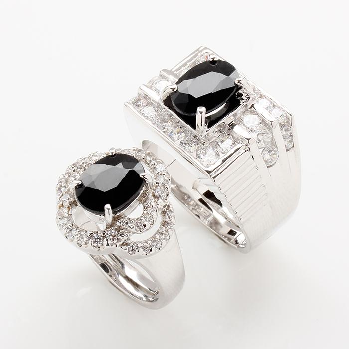 【雅紅珠寶】含情脈脈天然2克拉+2克拉黑藍寶對戒-活圍設計