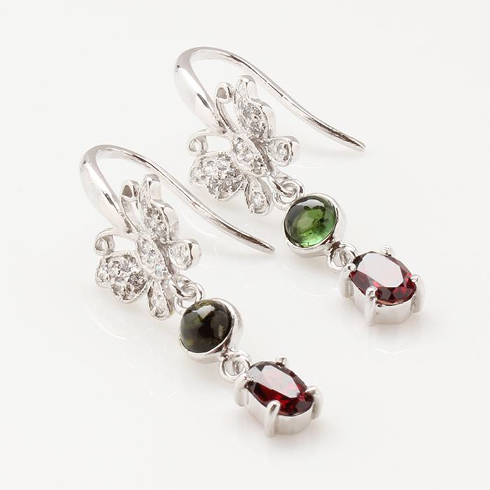 【雅紅珠寶】花紅柳綠天然紅石榴耳環-925純銀飾
