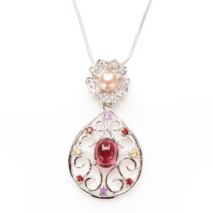 【雅紅珠寶】美女簪花天然碧璽項鍊-925純銀飾