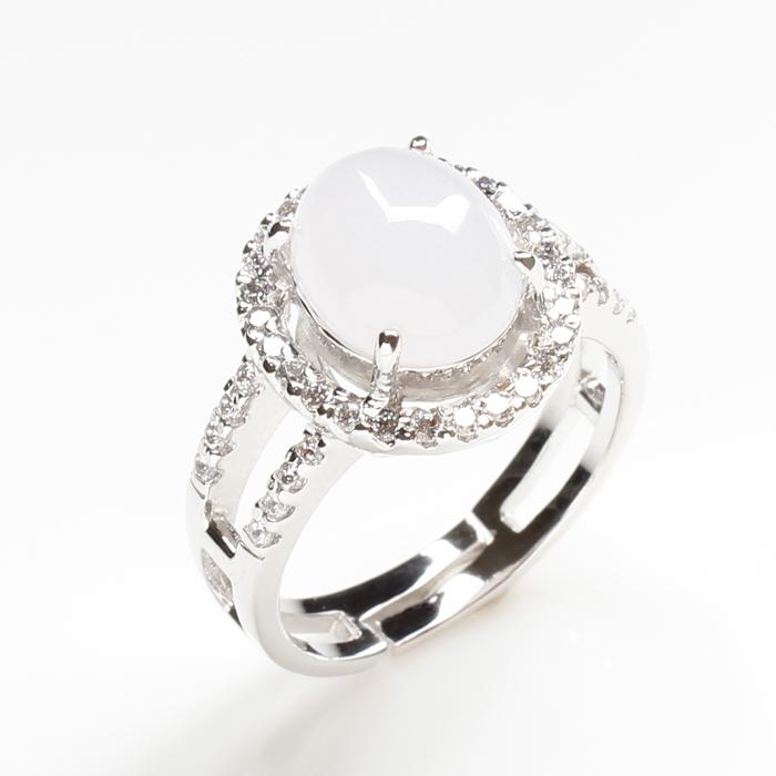 【雅紅珠寶】絲絲動人天然4克拉冰糯種白翡翠戒指-活圍設計