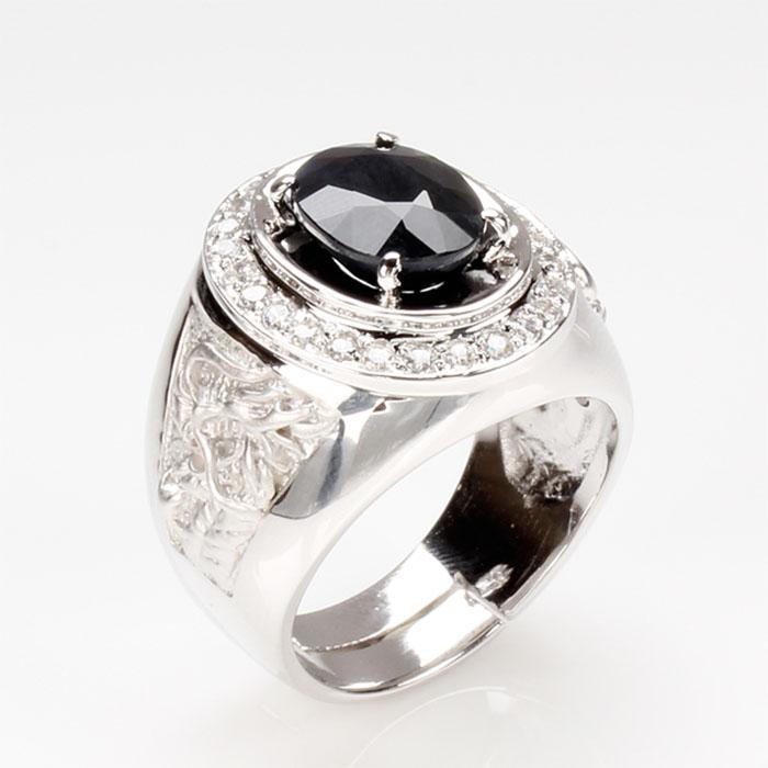 【雅紅珠寶】飛龍在天天然3克拉黑藍寶石戒-活圍設計