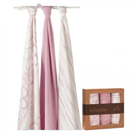 美國 aden+anais天然竹纖維包巾-粉紅幾何系列(3入)AA9204
