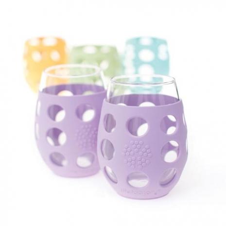 美國唯樂Lifefactory 繽紛彩色玻璃杯-325ml(淺紫2入) LF310007