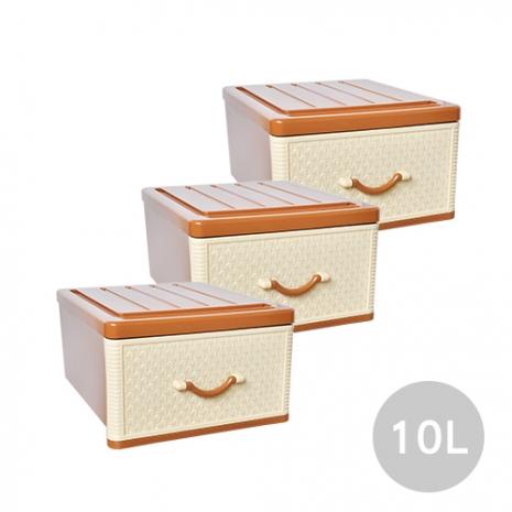 【ESONA易收納】特小仿藤古典單層收納整理箱(單層10公升) 3入組