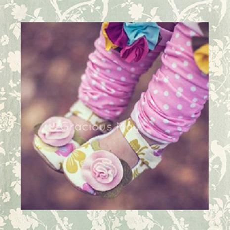 【瑞瑞比歐美童裝】美國Gracious May手工寶寶鞋/童鞋/學步鞋(鮮花優雅)6-12m