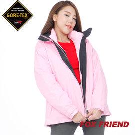 【FOX FRIEND】女裝 兩件式組合 GORE-TEX +羽絨外套 1024(加碼GORE棒球帽)黑 - M