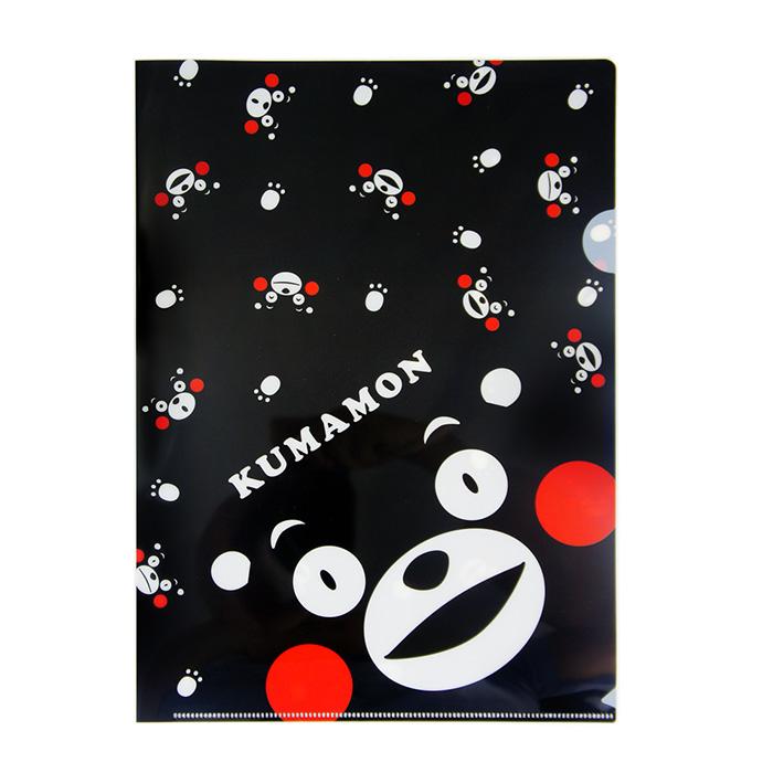 【酷ma萌 熊本熊 kumamon】A4 L夾- 白底黑熊/黑底黑熊-居家日用.傢俱寢具-myfone購物