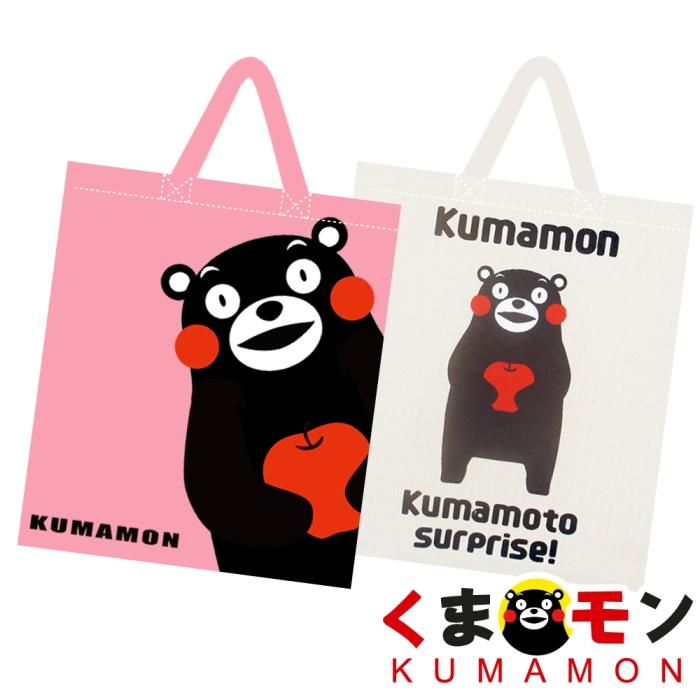 【酷ma萌 熊本熊 kumamon】帆布直式手提袋/琴譜包 (粉/米)