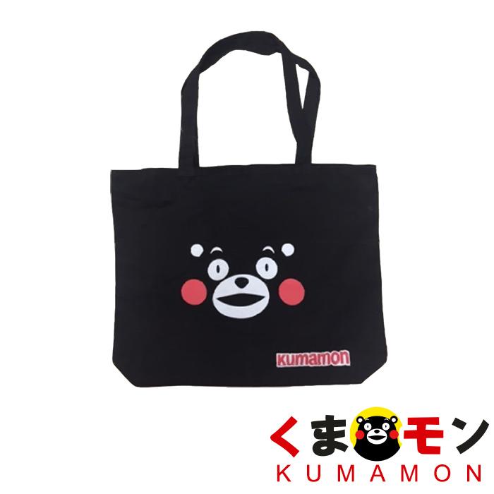 【酷ma萌 熊本熊 kumamon】笑臉帆布包/購物袋-可肩背拉鍊款-戶外.婦幼.食品保健-myfone購物