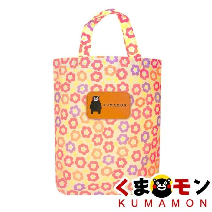 【酷ma萌 熊本熊 kumamon】小花花碎花 防水帆布包/直式購物袋/琴譜包