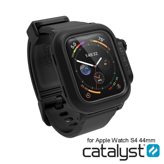 catalyst Apple Watch 44mm 第四代 專用-黑色 IP68防水軍規防震超輕量保護殼 (內附矽膠錶帶)