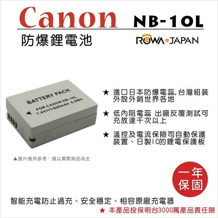 ROWA 樂華 For CANON NB-10L NB10L 電池 外銷日本 原廠充電器可用 全新 保固一年