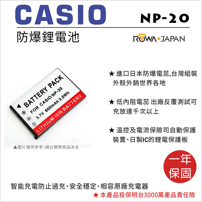 ROWA 樂華 For CASIO NP-20 NP20 電池 外銷日本 原廠充電器可用 全新 保固一年