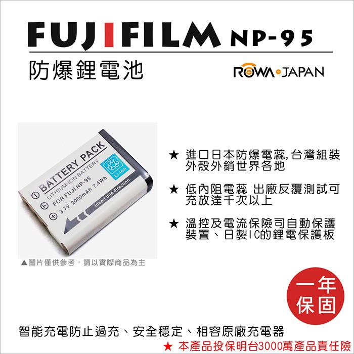 樂華 FUJIFILM NP-95 NP95 電池 保固 相容 原廠 X100T X30 X100S X-S1