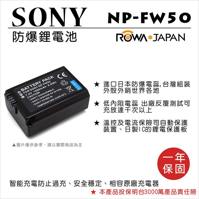 ROWA 樂華 For SONY NP-FW50 NPFW50 電池 外銷日本 原廠充電器可用 全新 保固一年 A6000 A7 A5100 A6300 RX100 M2