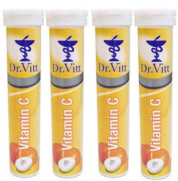 Dr.Vitt 德威特 維生素C 1000 發泡錠(柳橙口味) (4條組合)