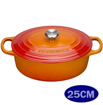 LE CREUSET (新款大耳)鑄鐵橢圓鍋 25cm 經典橘 鋼頭-APP