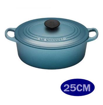 (福利品) LE CREUSET 鑄鐵橢圓鍋 25cm 加勒比海藍 -APP